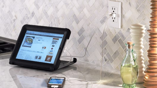 New outlets have special vertical ports for charging electronic devices.