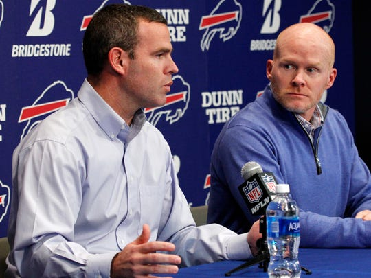 Buffalo Bills general manager Brandon Beane, left, and head coach Sean McDermott, are off and running in free agency.