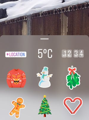 Holiday stickers introduced as part of the latest update on Instagram.
