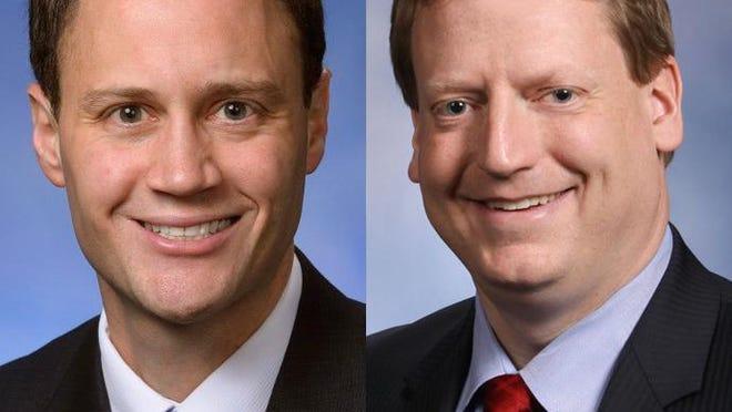 Republican Rep. Tom Leonard of DeWitt, left, and Democratic Rep. Tim Greimel of Auburn Hills.