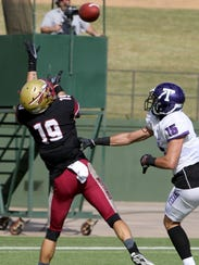 Midwestern State's D.J. Myers makes the catch in the