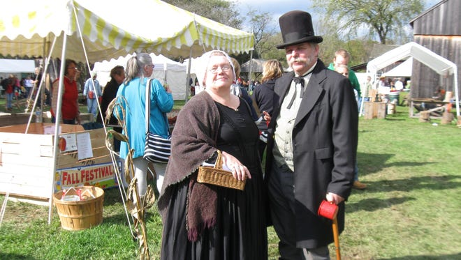 Historical reenactors are among the attractions at the Newark Valley Apple Festival.