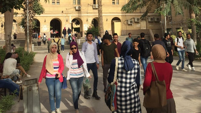 With more than 260,000 students Cairo University in Giza governorate is Egypt's largest higher education institution. Job prospects are rocky for college graduates- the unemployment rate increases with each level of educational attainment achieved by Egyptian youth fueling discontent among degree-holders.