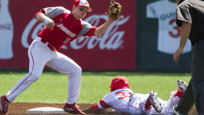 UL's Ishmael Edwards steals second base against Sacred Heart in the second inning of the Cajuns' win Sunday.