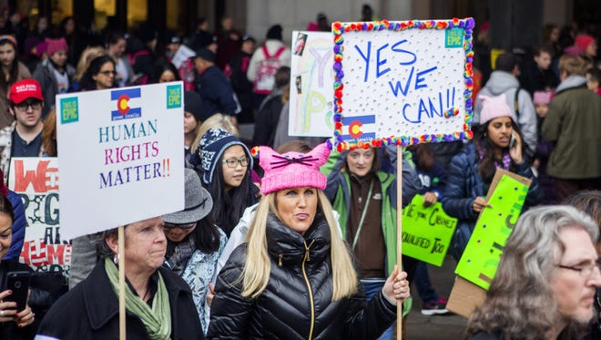 Demonstrators arrive at Union Station for the Women's March on Washington on Saturday.
