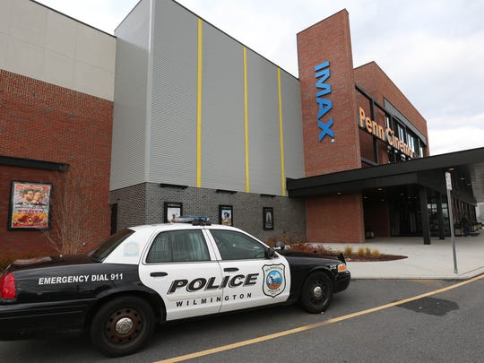 "Wilmington Police were patrolling the parking lot of Penn Cinema Christmas Day as a precaution for the first showings of the controversial movie ""The Interview""."