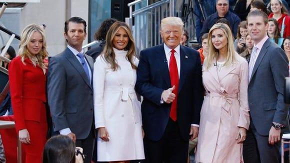 A great big beautiful wall of Trumps.