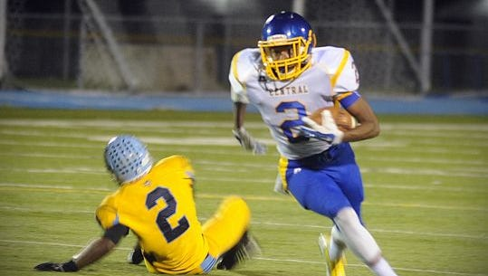 Sussex Central's Kendrique Nocks (2) leaves a Cape Henlopen defender behind him on Friday, Oct. 7 in Lewes.