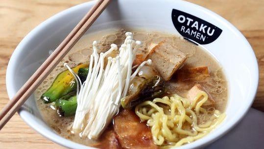 A Miso ramen is ready to be served at Otaku Ramen.