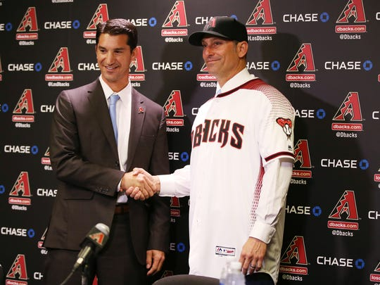 The D-Backs' new men in charge, GM Mike Hazen (left)