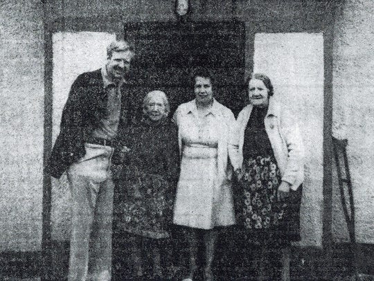 The author with long-lost Irish relatives, Emma, Madge,