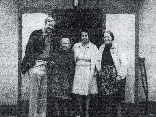 The author with long-lost Irish relatives, Emma, Madge, Maggie Jane.