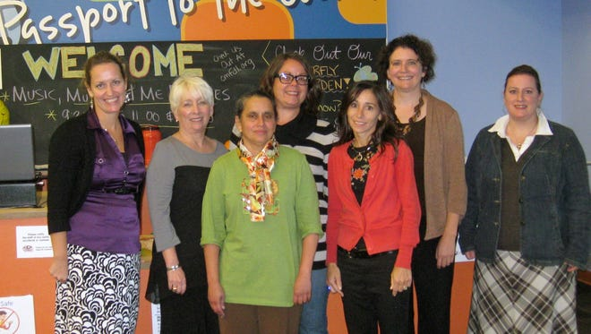The Marian University and Children's Museum of Fond du Lac Learning Laboratory partnership was developed with assistance from the following (from left): Katie Bey, museum's program development manager; Michelle Majewski, dean of Marian's school of arts and sciences; Lalitha Ramamoorthy, Marian assistant professor; Cyndi Trent, museum's visitor services and exhibits manager; Andrea Welsch, museum's executive director; Kia Karlen, Madison Children's Museum's director of education; and Amy Hennings, Marian assistant professor.