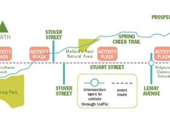 The route for the Open Streets event scheduled 10 a.m.