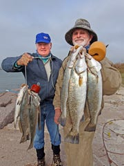 Erwin Moczygemba of Stockdale and Glenn Frerich of Bulverde each caught a limit of jetty trout on soft plastics.