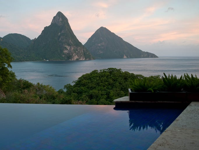 If privacy is paramount, these seven hotel rooms have pools of their own, making it impossible for other guests to disrupt your Zen. Jade Mountain, St. Lucia: The ultra-romantic, ultra-expensive Jade Mountain has a remote location and extraordinary design. Every room has an open fourth wall facing the Caribbean sea and St. Lucia's iconic Pitons, and all but the Sky Suites have a private infinity pool.