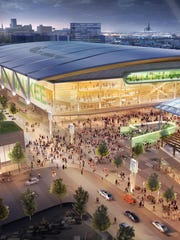 An artist's rendering shows a proposed new arena for