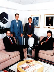 From left, brothers Thomas, Joseph, Louis Jr. and Gerard Capano sit for a family portrait in 1990 at Louis Capano & Sons Inc.'s real estate development corporate headquarters, 105 Foulk Road, Brandywine Hundred.