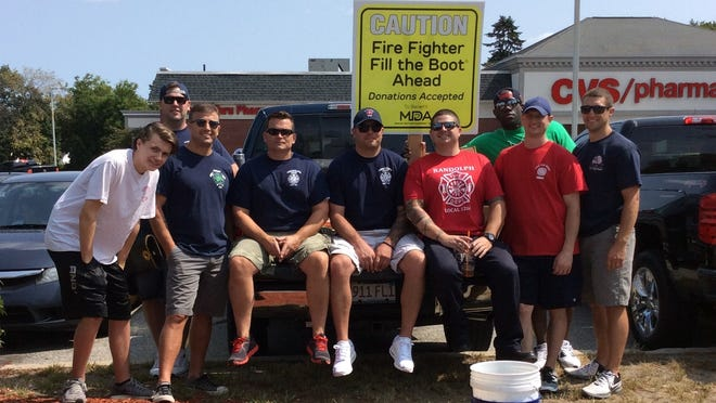 Randolph firefighters during a Fill the Boot fundraiser to raise money for the Muscular Dystrophy Association.