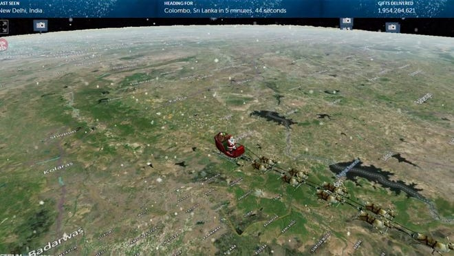 This photo provided by The North American Aerospace Defense Command (NORAD) shows the Santa Tracker on Thursday, Dec. 24, 2020. This is the 65th year for the U.S.-Canadian operation that has tracked the jolly old man since a child mistakenly called the base asking to speak to Santa.