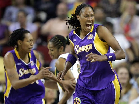 """A still from Rick Goldsmith's documentary """"Mind/Game: The Unquiet Journey of Chamique Holdsclaw"""" about basketball player Chamique Holdsclaw, right, who has bipolar disorder and is now a mental health advocate.  The film will be shown on June 28 as part of the Reel Mind Theatre & Film Series in Rochester."""