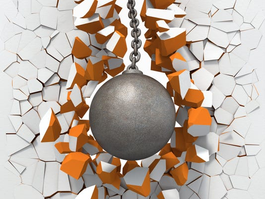 Wrecking ball destroying vector wall in white and orange