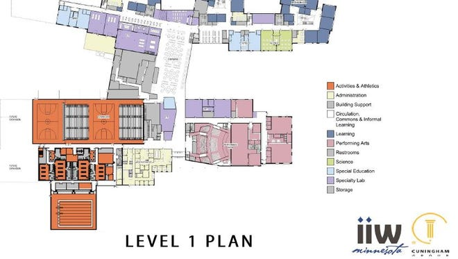 Tentative plans show the first floor of St. Cloud school district's new high school, to be built on the south side of town.