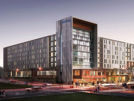 Designers presented a digital rendering, looking northeast, of Des Moines' Hilton convention hotel downtown at eight-stories tall and 320,000 square feet.