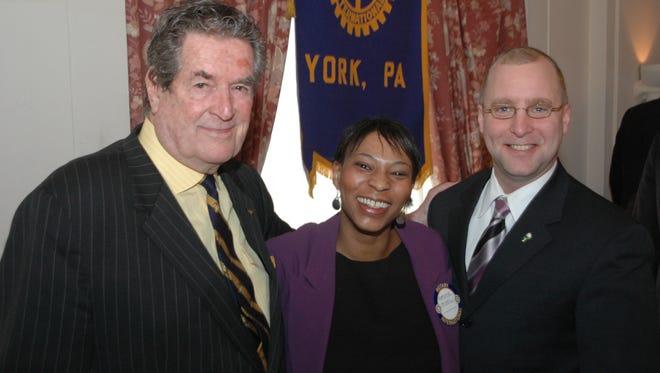 Hugh O'Brian, left, with former  Adrienne McNeil, a former York College administrator, center, and former Mayor of York John Brenner.