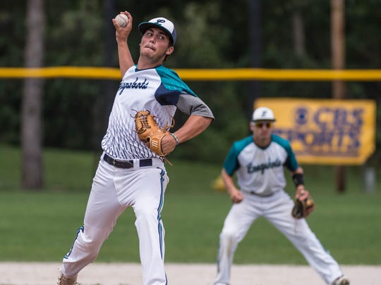 Daniel Ehrsam of the Longshots pitches in the Connie Mack Regional Championship game at Bailey Park on Sunday.