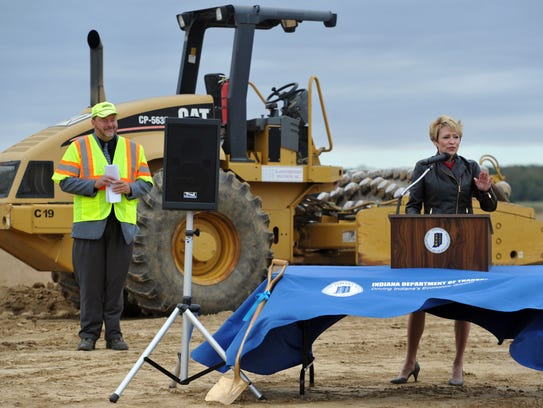 Indiana Lt., Gov., Sue Ellspermann speaks as INDOT's