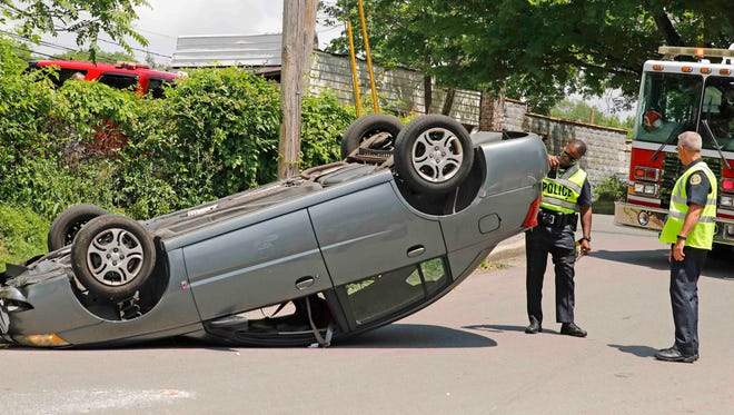 An inexperienced driver flipped her car on Greenwood Avenue Monday.