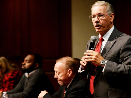 Jim Taliaferro at the Race and the City: Shreveport Mayoral Forum Tuesday evening where the topic was institutional racism and was hosted by Centenary College of Louisiana.