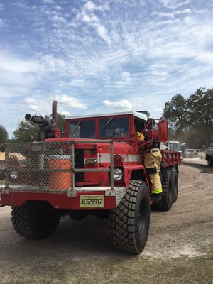 FILE- Firefighters tackle a small brush fire