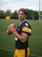 Iowa freshman quarterback Tyler Wiegers poses for a photo during the University of Iowa football team's media day on Saturday, Aug. 8, 2015, in Iowa City, Iowa.