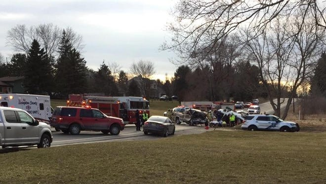 At least one person was flown by emergency helicopter to an Ann Arbor hospital following a two-vehicle crash around 5:45 p.m. Thursday on M-36 in Hamburg Township.