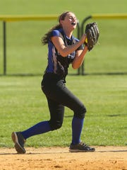 Hammonton's Carly Caprio catches a pop-up during a 7-2 setback to Cumberland on April 1.
