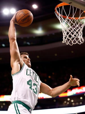 Boston Celtics power forward Kris Humphries (43) shoots the ball against the Denver Nuggets during the second half at TD Garden.