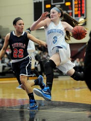 Mahwah  --- Sunday, February 15, 2015 --Samantha Fuehring, #3 drove to the basket past Daniella McMahon #22. ICHS won their semi-final game against Saddle River Day School 55-40 in the Bergen County Women's Coaches Basketball Tournament on Sunday at Ramapo College.