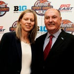 Big East commissioner Val Ackerman (left) and Big Ten commissioner Jim Delany pose for a photo during a news conference at Madison Square Garden on Monday.