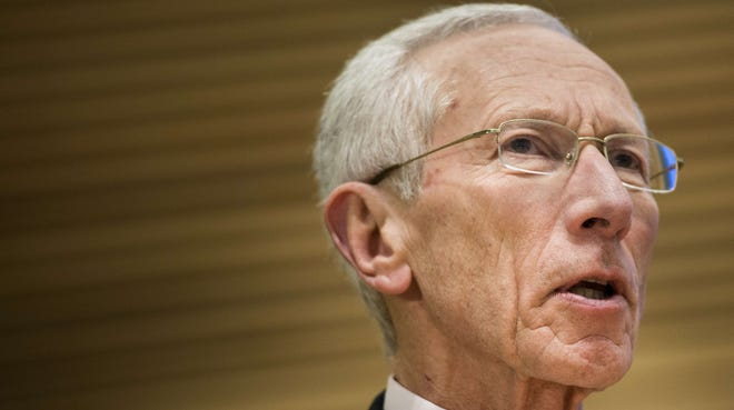 Former Bank of Israel governor Stanley Fischer speaks during the Jacques Polak Research Conference at the headquarters of the International Monetary Fund in November.
