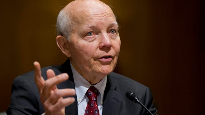 FILE - In this Feb. 10, 2016 file photo, Internal Revenue Service (IRS) Commissioner John Koskinen testifies on Capitol Hill in Washington. Conservatives are pushing to force an election-season House vote on impeaching IRS chief John Koskinen, despite misgivings by many Republicans and solid Democratic opposition that means Congress lacks the votes to ultimately remove him from office. (AP Photo/Manuel Balce Ceneta, File)
