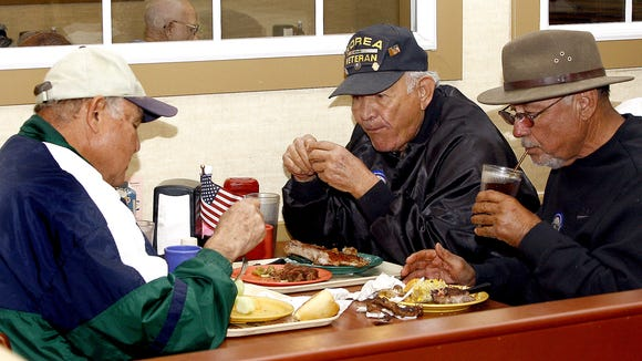 This Gannett file photo shows veterans dining at Golden Corral during a Veterans Day celebration.