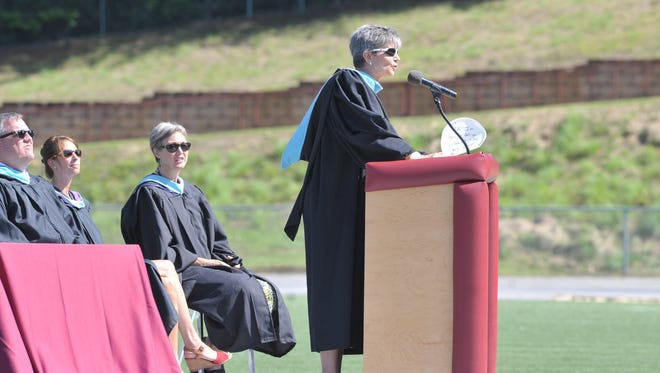 Owen Principal Meg Turner addresses the school's Class of 2015 during its commencement.