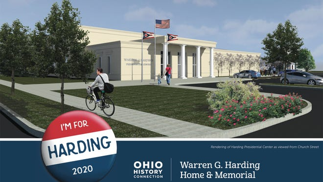 An artist's rendering of the view from Church Street of the Warren G. Harding Presidential Center. The center is scheduled to open in 2020.