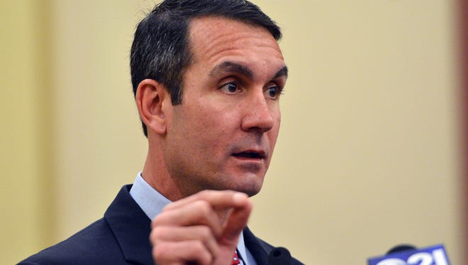Auditor General Eugene DePasquale outlines the findings of an audit of the York City School District, Thursday, April 20, 2017. John A. Pavoncello photo