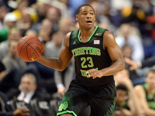Notre Dame Fighting Irish guard Demetrius Jackson (23) pushes up the ball up the court against Wake Forest, March 12, 2014.