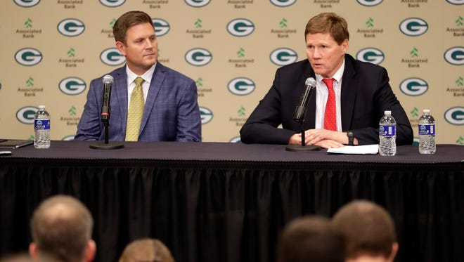 Green Bay Packers President and CEO Mark Murphy addresses media after hiring Brian Gutekunst as general manager for the organization on Jan. 8, 2018 at Lambeau Field.