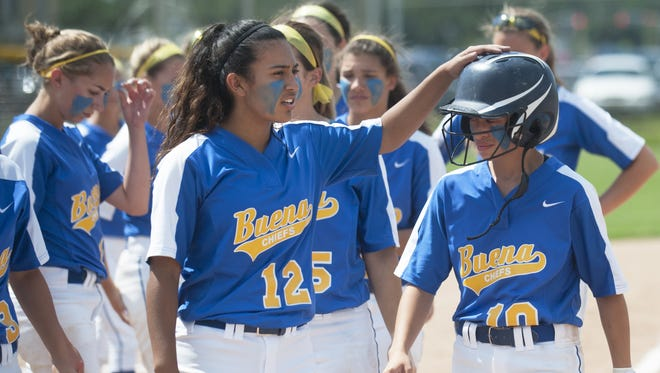 Members of the Buena softball team gather together after losing to Metuchen,  3-1, in the softball state Group 1 semifinal game played at Rowan University in Glassboro on Thursday.  06.01.17