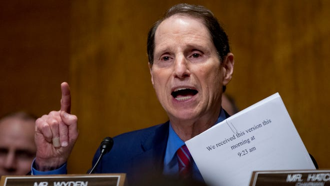 Sen. Ron Wyden, D-Ore., speaks on Capitol Hill in Washington.